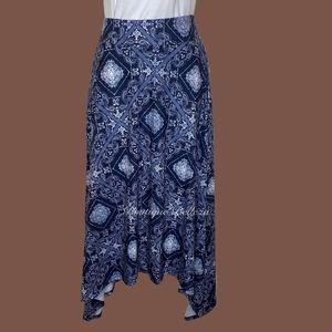 Maurices Asymmetric Blue Print Maxi Skirt Sz M